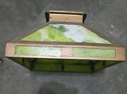 Antique Arts Crafts/mission Brass And Green Slag Glass Shade 16 X 16