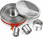 Round Cookie Biscuit Cutter Set, 12 Graduated Circle Pastry Cutters, Heavy Duty