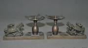 Chinese Feng Shui Bronze Auspicious Dragon Turtle Frog Statue Candlestick Holder