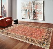 6'x9'| 9'x12' Rug |traditional Hand-knotted Serape Newzeland Wool Rust-blue