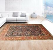 10'x14' Rug |traditional Hand-knotted Serape Newzeland Wool Blue-rust