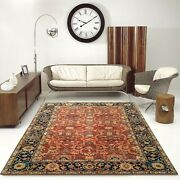 6'x9' Rug |traditional Hand-knotted Serape Newzeland Wool Rust-blue Area Rug