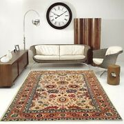 5'x7' |6'x9' Rug |traditional Hand-knotted Serape Newzeland Wool Beige-rust