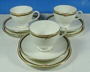 Wedgwood Discontinued Bone China Clio Trio Leigh Teacup, Saucer, Side Plate X3