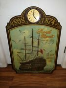Antique Nautical Vintage French Clipper Ship Painting 3d Relief Wall Clock 36x24