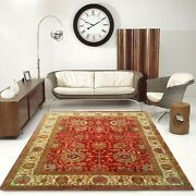 8'x10' Rug |traditional Hand-knotted Serape Newzeland Wool Rust-ivory Area Rug