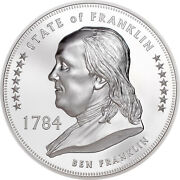 2020 Cook Islands 1 Lost States Of America Franklin 1 Oz 999 Silver Proof Coin