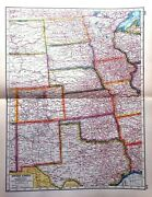 United States America Usa Central Map Rare Vintage Antique Double Great Framed