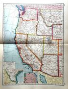 United States America West Usa Rare Vintage Antique Map Great Framed Double Page