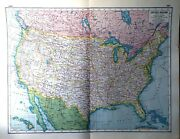 United States America Usa Rare Vintage Antique Map Great Framed