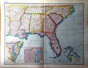 Usa America South East United States Rare Vintage Antique 1921 Map Great Framed