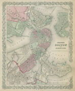 Boston And Adjacent Cities. Decorative Antique Town City Plan. Colton 1869 Map