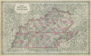 Coltonand039s Kentucky And Tennessee. Decorative Antique Us State Map 1869 Old