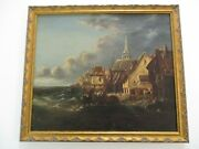 Antique Mystery Painting Coastal Ship Port Workers Industrial Boat Port Marina