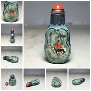 Beijing Chinese Peking Glass Snuff Bottle Bottles Antique Glaze Carved Painted