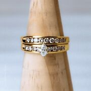 Marquise Solitaire W/ Accents 2 Piece Wedding Set 14k Yellow Gold  Size 8.75