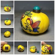 Beijing Chinese Peking Glass Snuff Bottle Bottles Antique Colored Glaze Painted