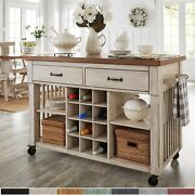 Eleanor Two-tone Kitchen Island With Wine Rack By Inspire Q