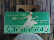 Orig. 1920's-30s Chesterfield Cigarettes Vintage Sign Woman Tennis Player