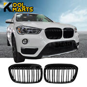 For 2015-2019 Bmw X1 F48 Double Solt Gloss Black Front Upper Grill Grille