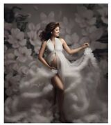 Photography Backdrop Oil Painting White Floral Maternity Newborn