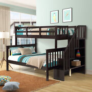 Stairway Twin Over Full Bunk Bed With Storage And Guard Rail For Kids Adults