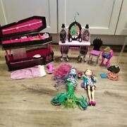 Monster High Lot Ever After High Raven Vanity Dead Tired Draculaura Doll Andcoffin