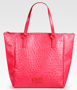 Nwt Marc Jacobs Take Me Ozzie Ostrich Stamped Leather Tote Bag - Rock Lobster