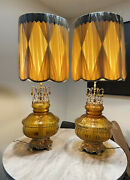 Vintage Hollywood Regency Glass Blown Lamps Large Retro Lampshades 46andrdquo