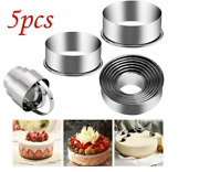 5x/set Round Circle Stainless Steel Cookie Cutter Biscuit Diy Baking Pastry Mold