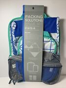 Beach House 6 Piece Value Pack Travel Set Cubes Compression Bags Blue Gray