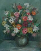 Vintage Oil On Board Of A Colorful Vase Of Flowers By Maine Artist Anne Bradley