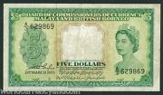 Malaya And British Borneo 5 Dollar P-2 1953 Rare Queen Currency Bill Bank Note