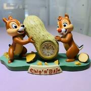 Rare Disney Store Chip And Dale Table Clock Discontinued Figure Figurine Doll F/s