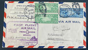 1930 St Thomas Virgin Islands First Flight Airmail Cover To Natal Brazil 95 Flow