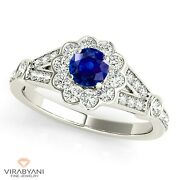 1.20 Ct. Natural Blue Sapphire Ring With 0.50 Ctw. Diamond 14k White Gold