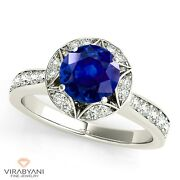 1.35 Ct. Natural Blue Sapphire Halo Ring With 0.40 Ctw. Diamond 14k White Gold