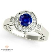 1.20 Ct. Natural Blue Sapphire Halo Ring With 0.40 Ctw. Diamond 14k White Gold