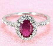 0.70 Ct. Oval Genuine Ruby And 0.45 Ctw Diamond Halo Gemstone Ring 18k White Gold