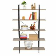 5-tier Industrial Bookcase And Book Shelves, Vintage Wood And Metal Bookshelves