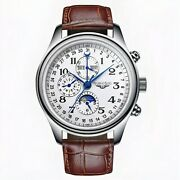 Automatic Mechanical Men's Watches Luxury Swiss Date Moon Phase Sapphire Crystal
