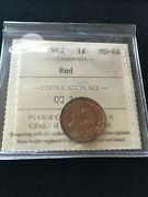 1943 Iccs Graded Canadian Small One Cent Ms-64