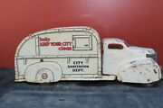 Marx Toys Pressed Steel Tin Litho City Sanitation Garbage Truck - Made In Usa