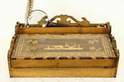 Swedish Antique Inlaid Travel Or Lap Desk With Gallery And Sleigh Marquetry 35098