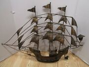 Vintage Twisted Wire Wall Art Iron Ship Spanish Pirate Ship Nautical 31w Mexico