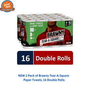 New 2 Pack Of Brawny Tear-a-square Paper Towels, 16 Double Rolls