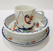 And Co. Seashore Beech Theme Childrenand039s 3pc Dining Set Plate Bowl And Cup