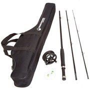 Wakeman Charter Series Fly Fishing Rod And Reel Combo With Carry Bag, Black