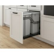 Kitchen Cabinet Door Mountable Double Trash Can Rollout Black Frame Grey Cans