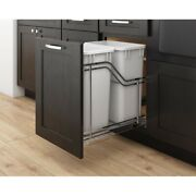 Kitchen Cabinet Door Mountable Double Trash Can Rollout Chrome Frame Grey Cans